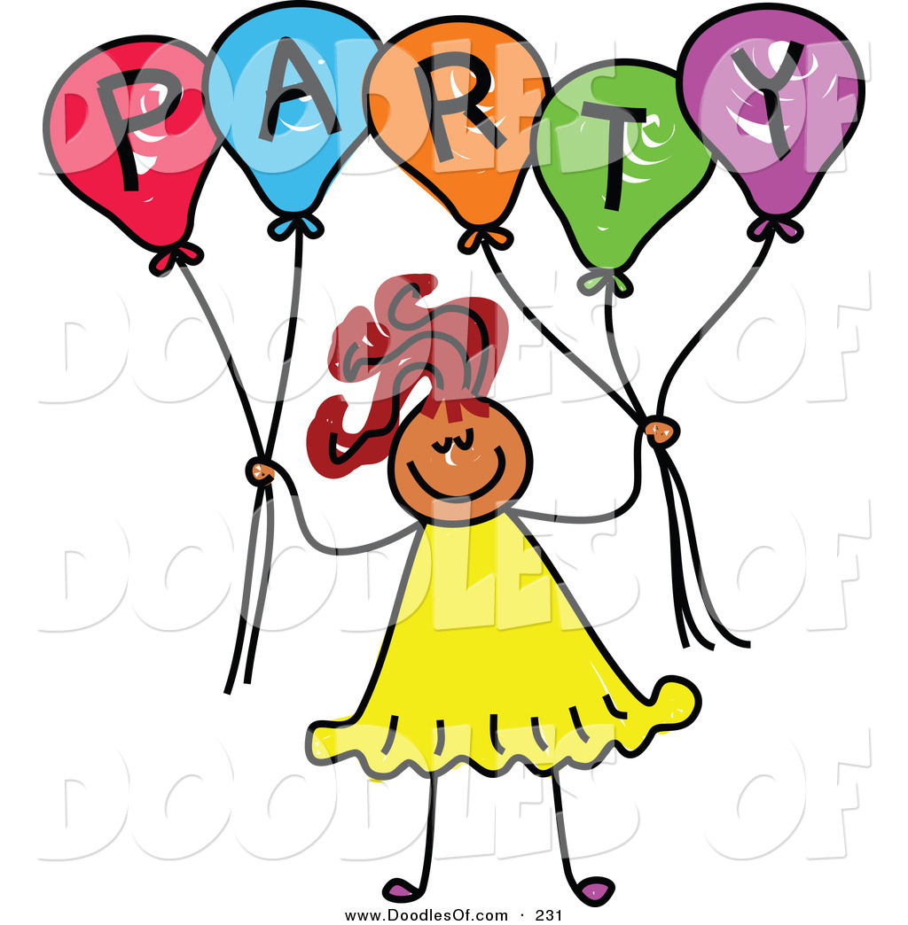 1024x1044 Vector Clipart Of A Smile Childs Sketch Of A Girl Holding Balloons