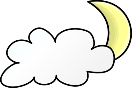 425x284 Partly Cloudy Moon Clipart