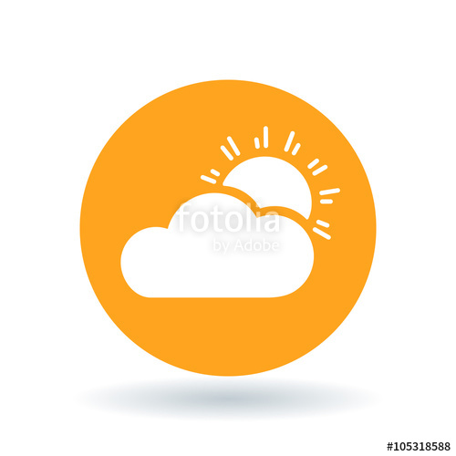 500x500 Sun And Clouds Icon. Partly Cloudy Sign. Sunlight And Clouds