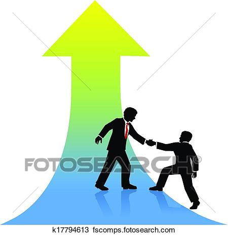 450x465 Clipart Of Business Person Helping Partner Up To Success K17794613