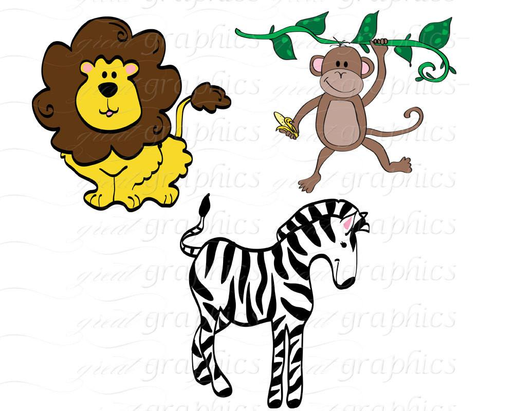 1000x800 Jungle Animal Clip Art Digital Clipart Birthday Party Clipart