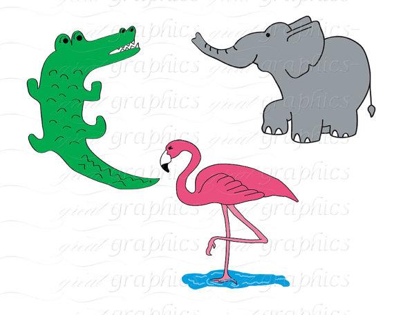 570x456 Jungle Animal Clip Art Digital Clipart Birthday Party Clipart
