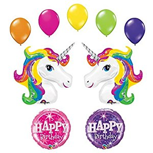 300x300 Unicorn 9 Pc Rainbow Sparkle Birthday Party Balloon