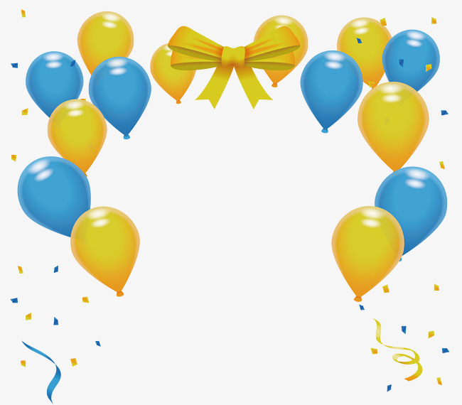 650x570 Yellow Blue Party Balloon, Vector Png, Pearl Balloons, Blue