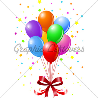325x325 Balloons, Confetti And Serpantine Gl Stock Images