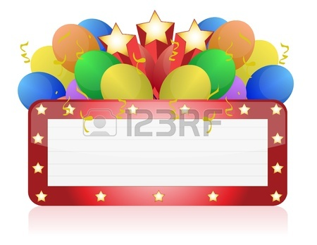 450x348 Billboard With Balloons Confetti. Ready For Celebrating