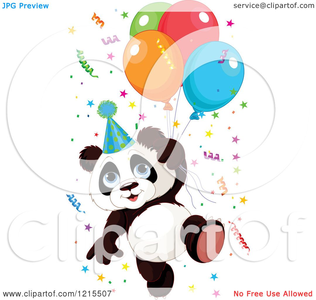 1080x1024 Clipart Of A Cute Panda With A Party Hat Balloons And Confetti