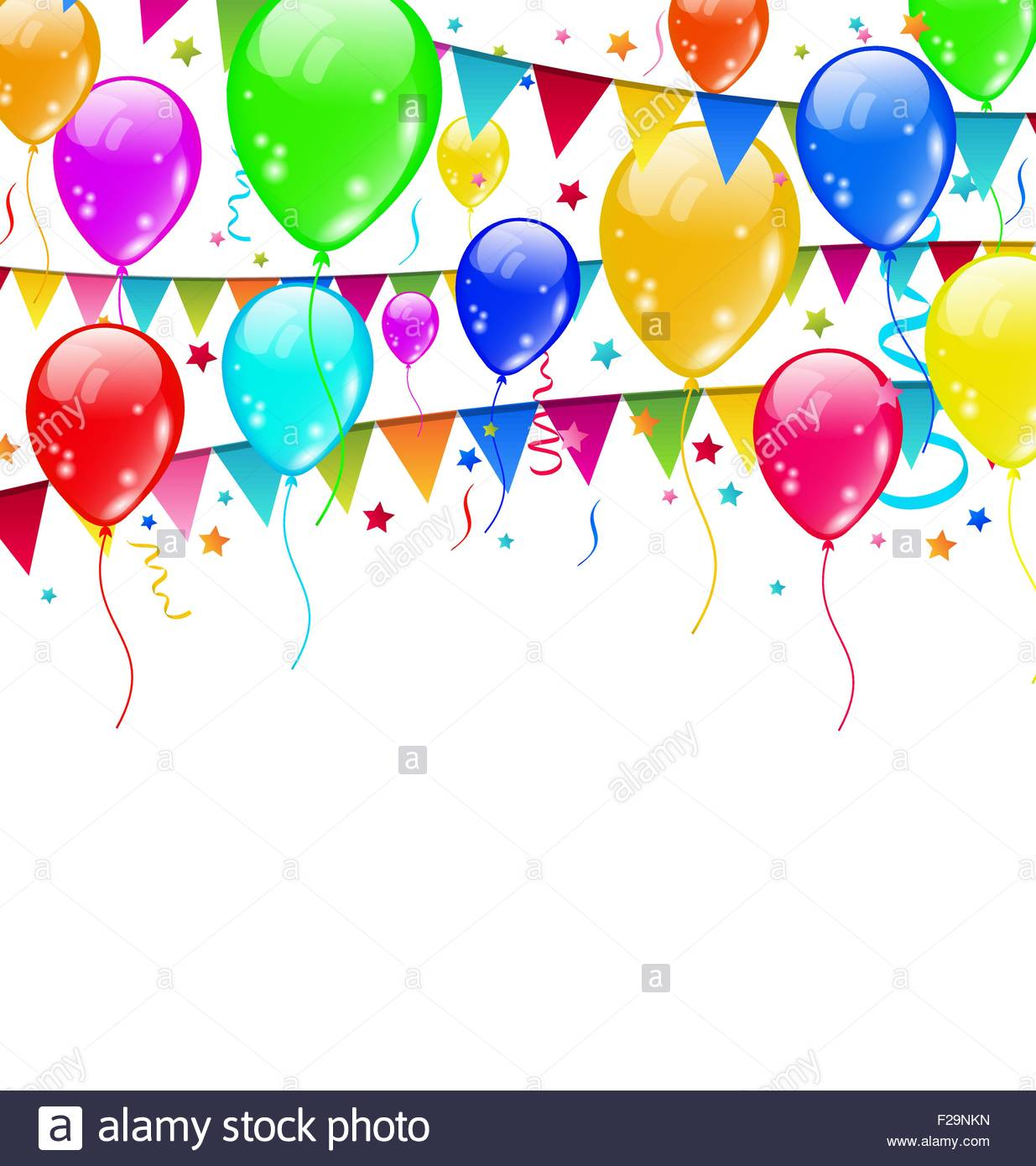 1235x1390 Colourful Party Balloons, Confetti With Space For Text Stock