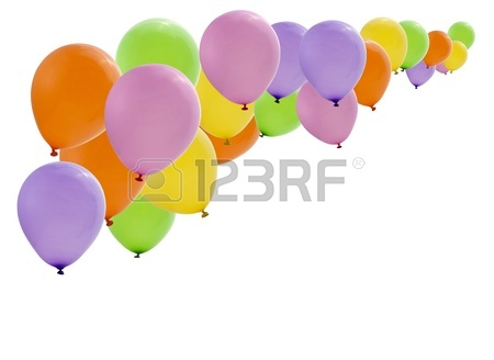 450x328 Colorful Birthday Party Balloons Flying On White Background Stock