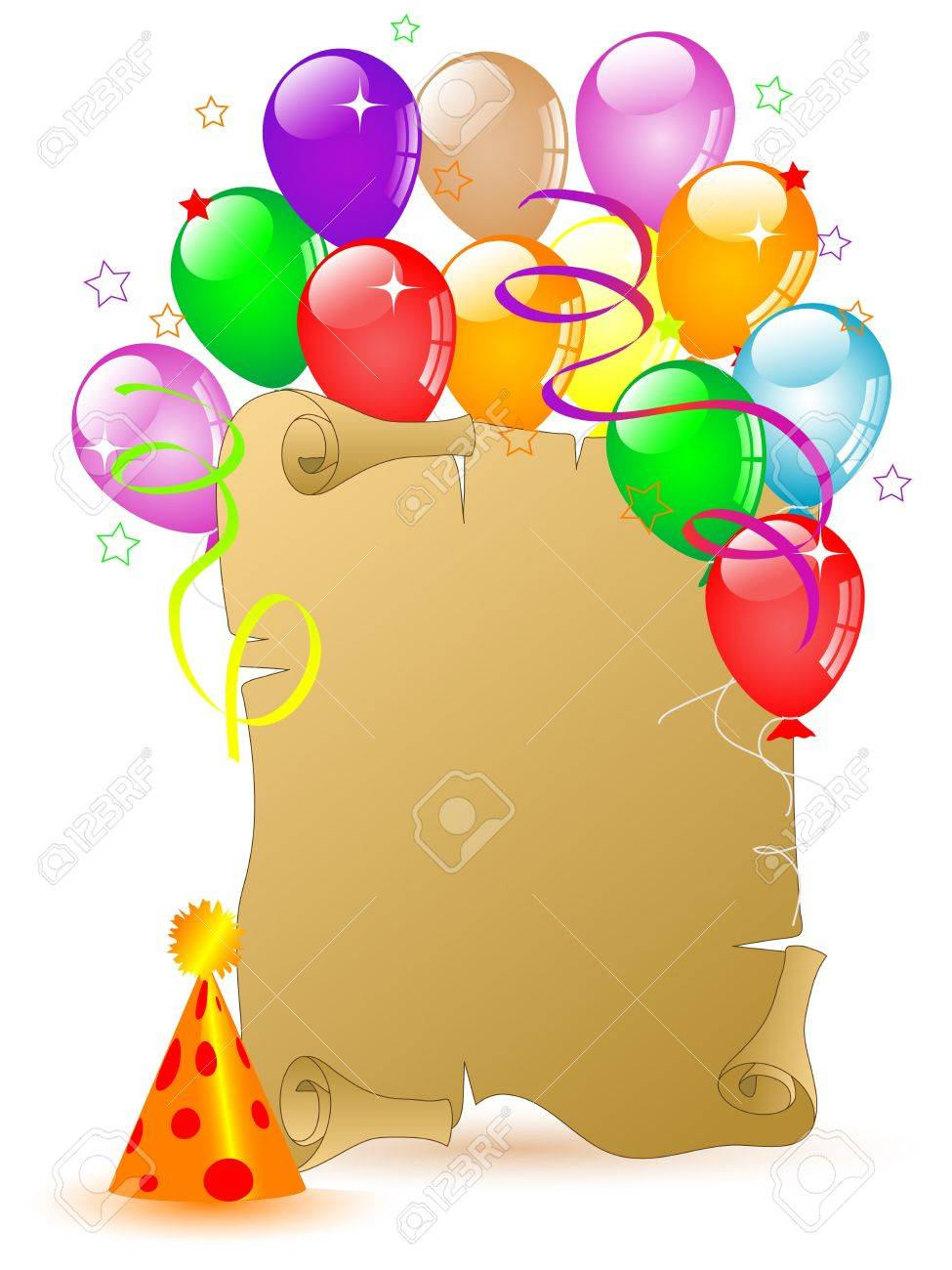 975x1300 Old Scroll For Your Text And Colorful Party Balloons Royalty Free
