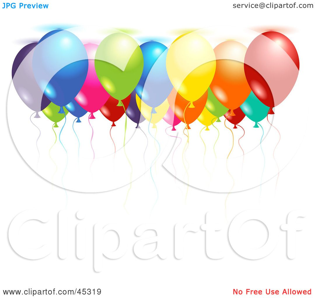 1080x1024 Royalty Free (Rf) Clipart Illustration Of Colorful Helium Filled