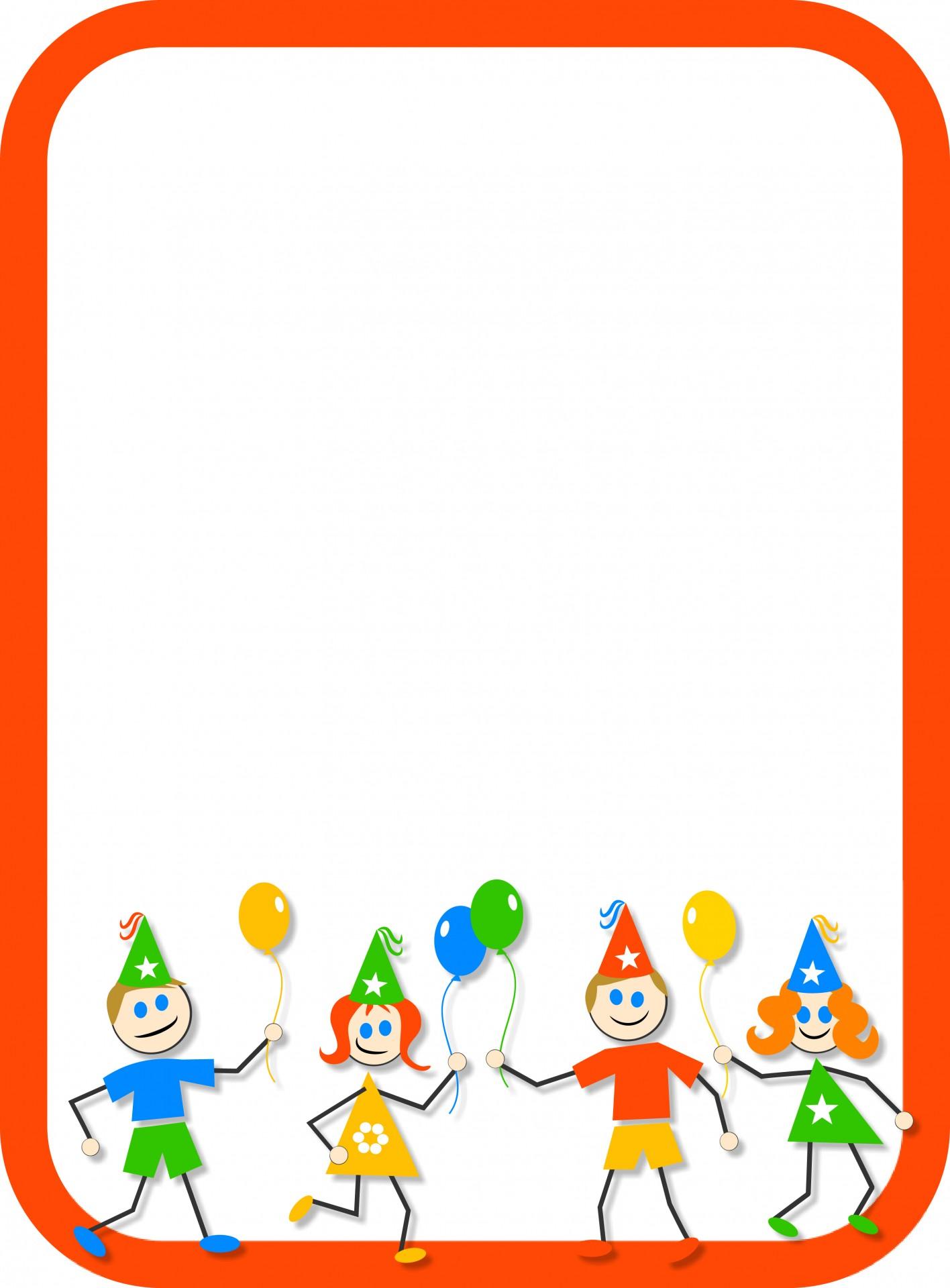 1416x1920 Kids Party Border Free Stock Photo