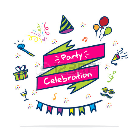 450x450 Vector Let's Celebrate Banner With Party Icon. Royalty Free