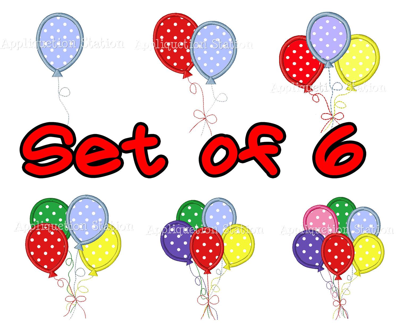 1500x1224 Balloon Set Happy Birthday Party Celebrate Applique Machine