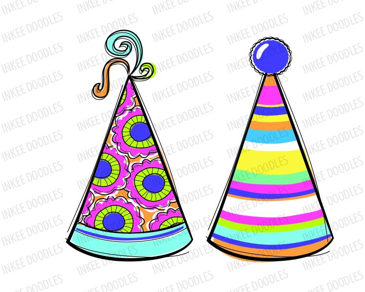 750x600 Doodles Party Hats Cute Kids Birthday Celebration Clip Art