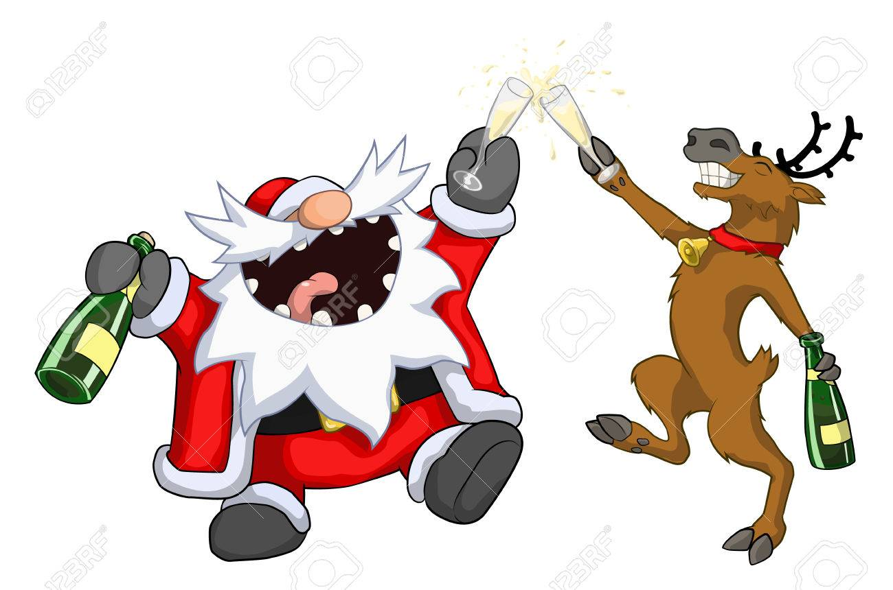 1300x860 Santa Claus And Reindeer Drunk Police Lineup, Christmas Party