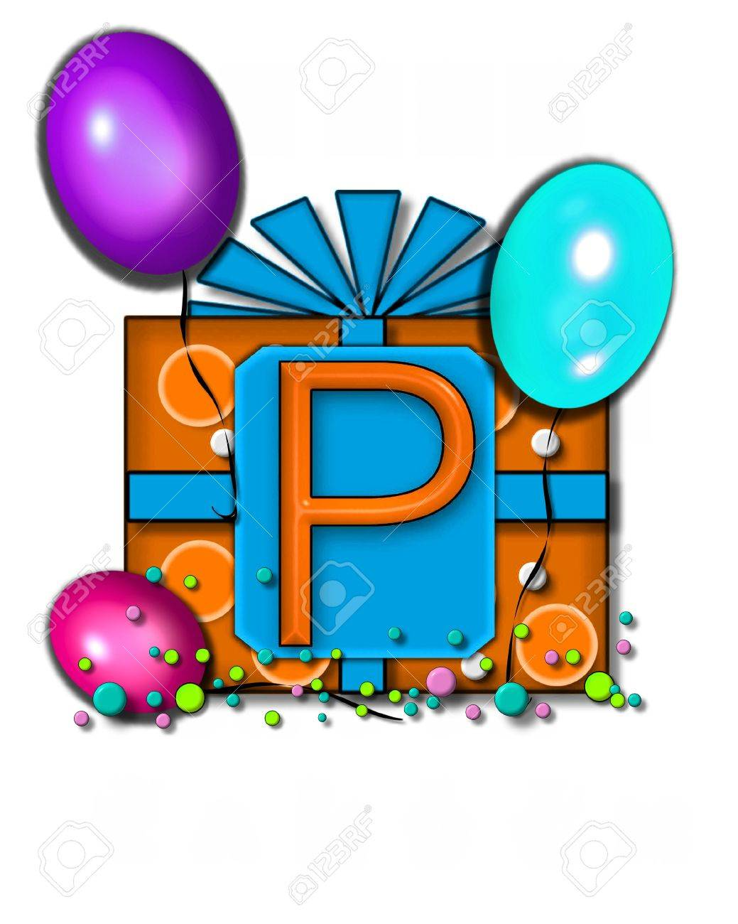 1039x1300 The Letter P, In Thelphabet Set Celebration Party Sits On