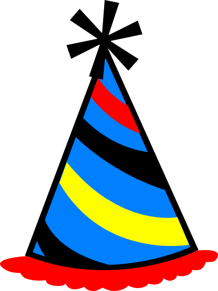 450x599 Party Hat Blue, Red Amp Yellow Clip Art