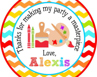 340x270 Personalized Painting Party Favor Tags Art Party Stickers