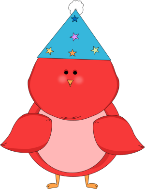300x390 Red Bird Wearing A Party Hat Clip Art