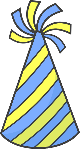 323x600 Birthday Hat Striped Blue Yellow Images Clipart