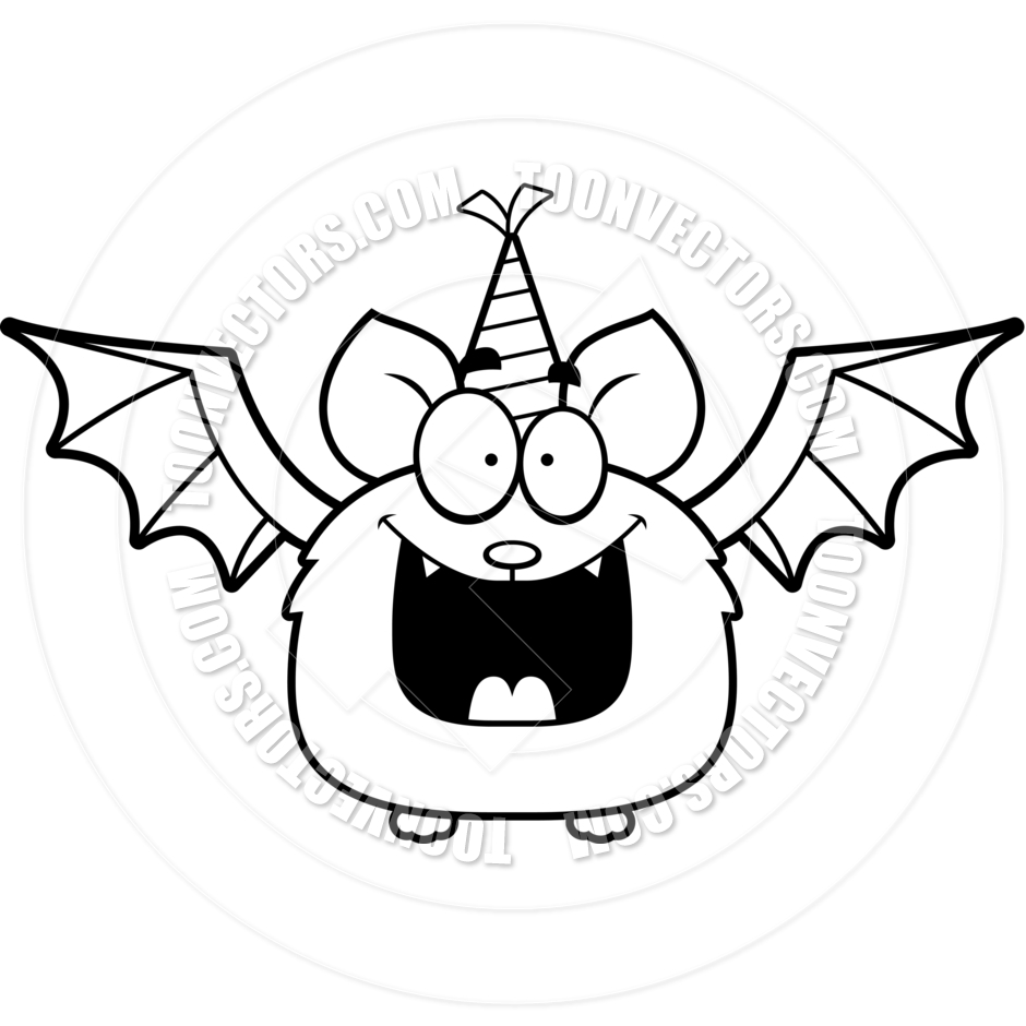 940x940 Cartoon Little Bat Birthday Party (Black And White Line Art) By