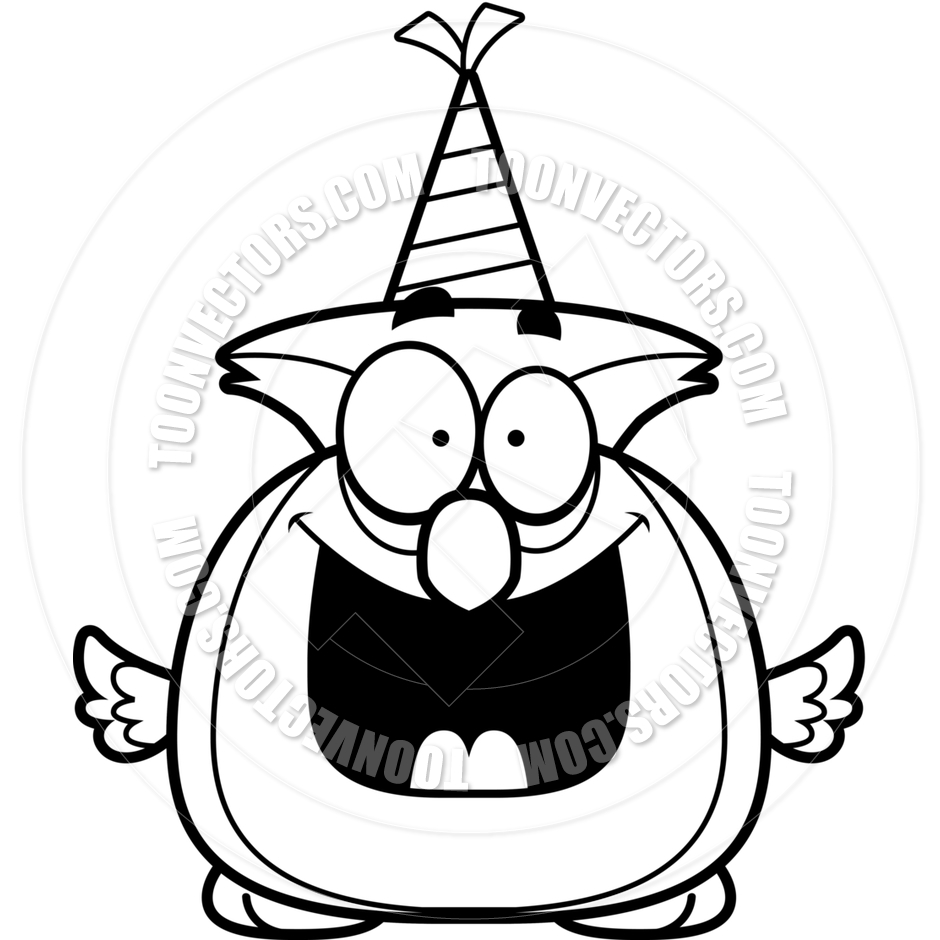 940x940 Cartoon Little Owl Birthday Party (Black And White Line Art) By