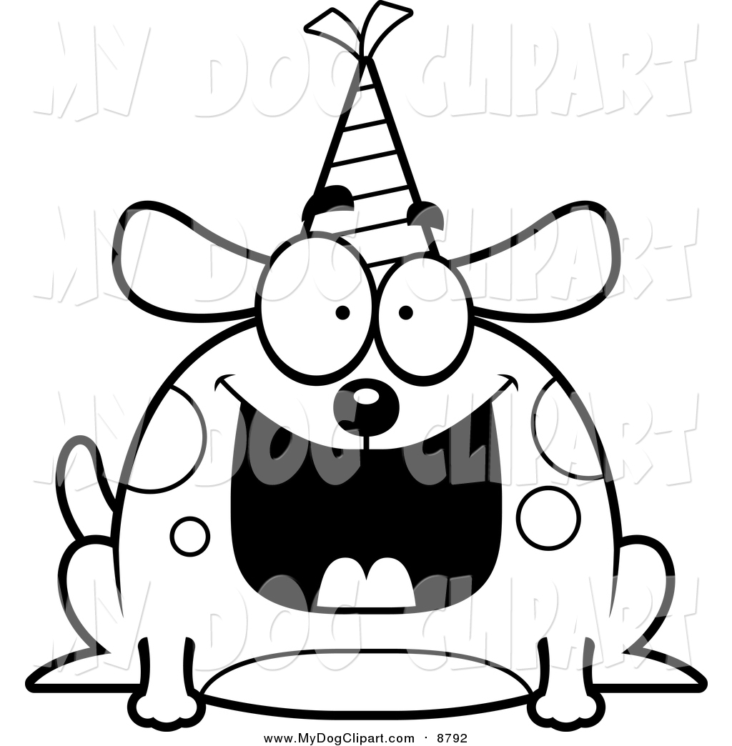 1024x1044 Clip Art Of A Lineart Happy Birthday Dog Wearing A Party Hat By