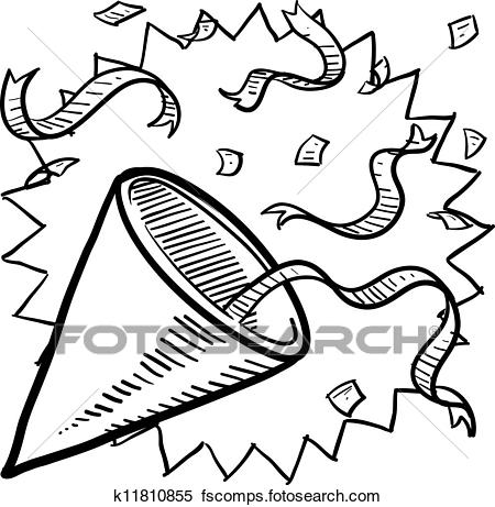 450x461 Clipart Of Party Hat And Confetti Sketch K11810855