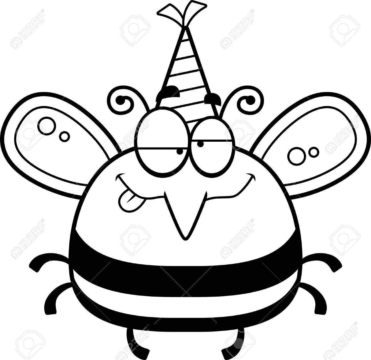 1300x1260 A Cartoon Illustration Of A Bee With A Party Hat Looking Drunk