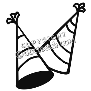 300x300 New Year Party Hat Black And White Clipart