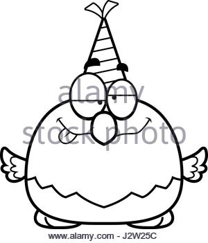 300x351 A Cartoon Illustration Of A Bald Eagle With A Party Hat Looking