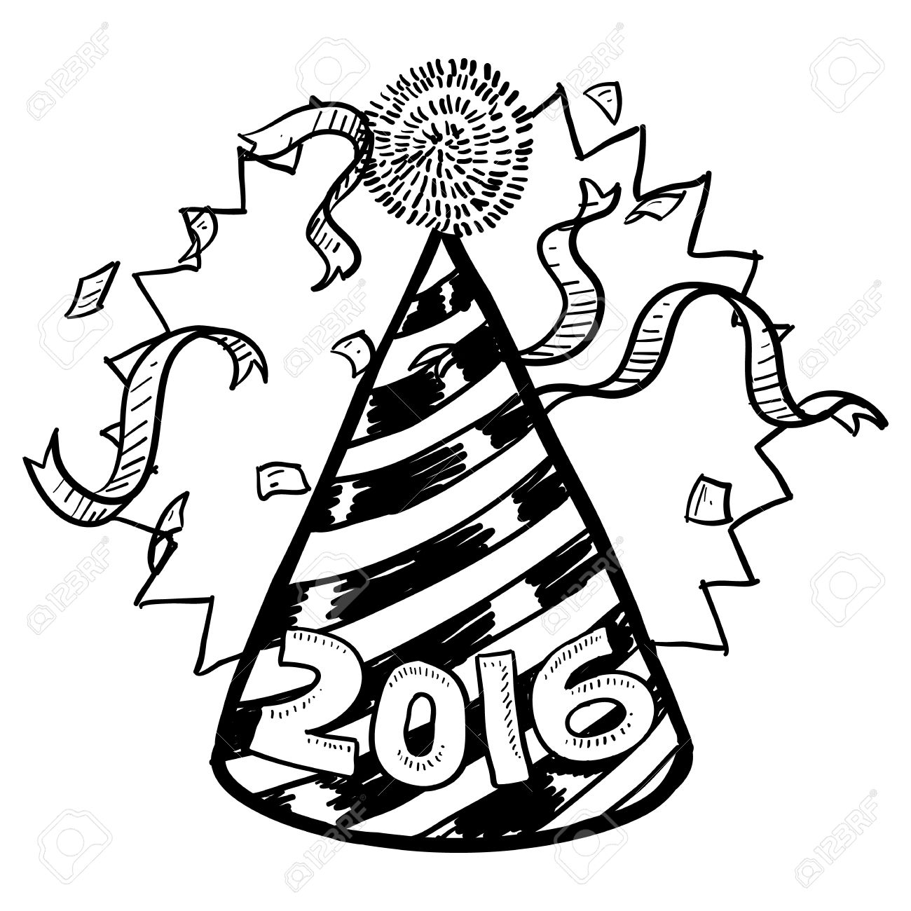 1300x1300 New Year Clipart Black And White