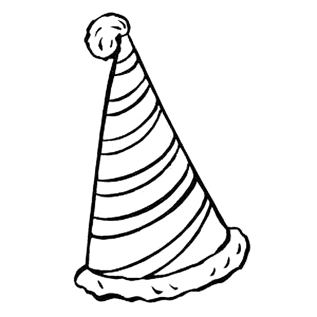 650x650 Birthday Hat Black And White Clip Art 3