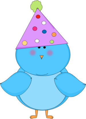300x415 Blue Bird Wearing A Party Hat Clip Art
