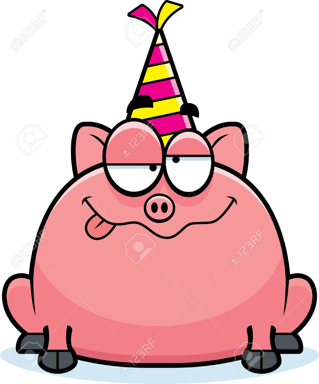 1080x1300 A Cartoon Illustration Of A Little Pig With A Party Hat Looking