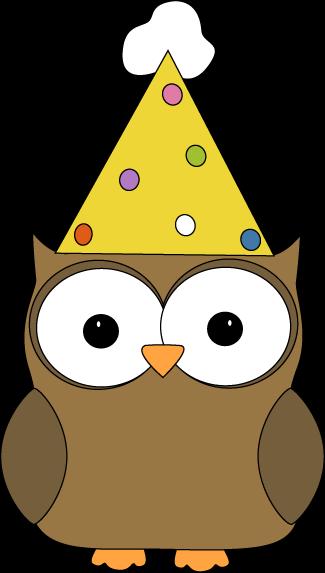 325x573 Owl Wearing Party Hat Clip Art