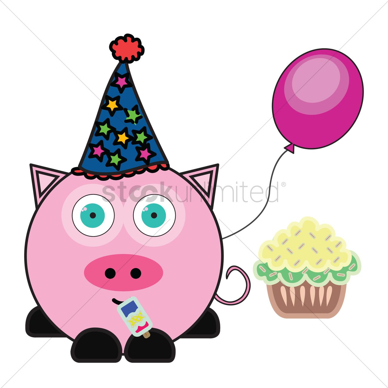 1300x1300 Pig With Party Hat, Balloon And Cupcake Vector Image