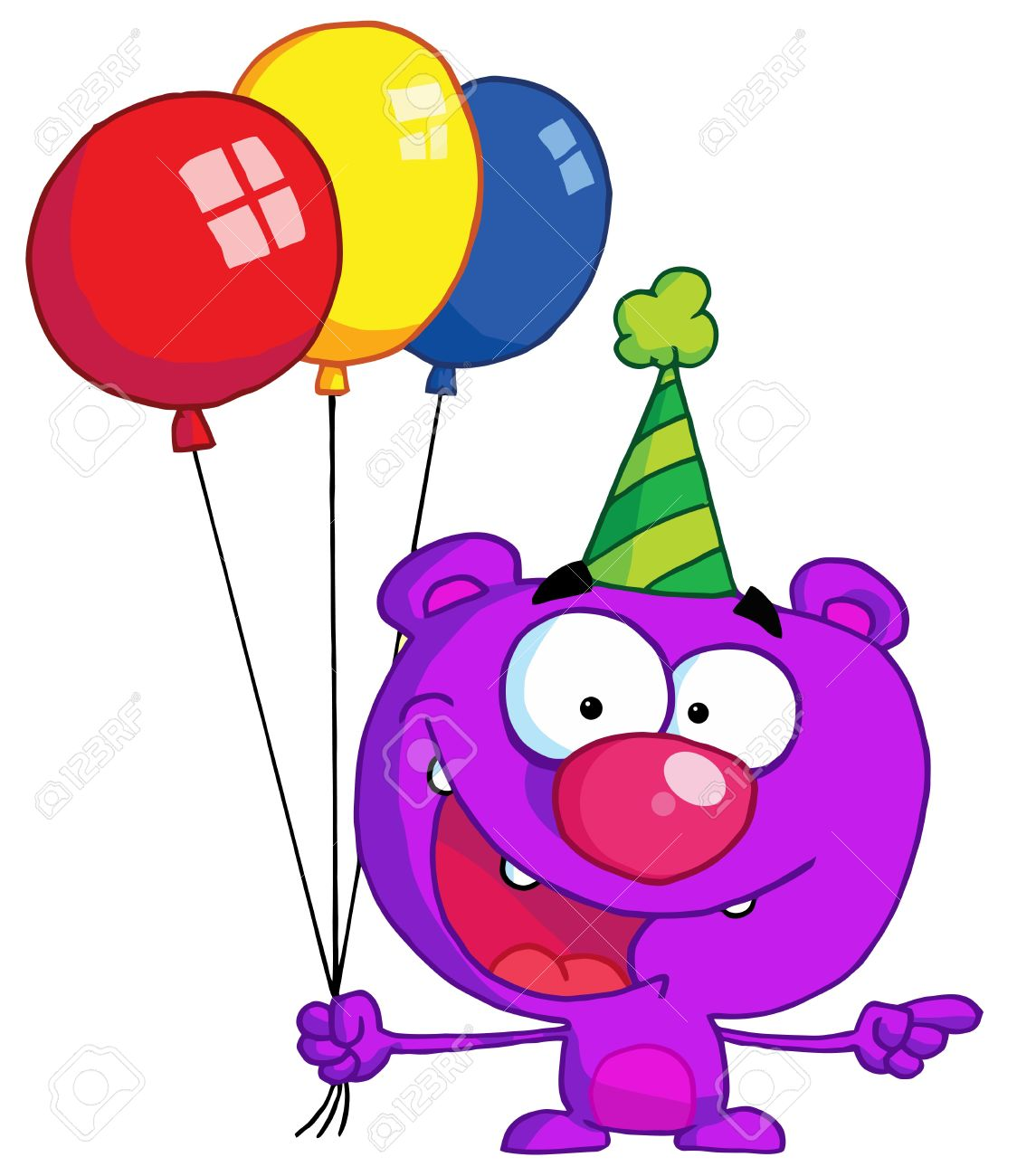 1124x1300 Bear In Party Hat With Balloons Royalty Free Cliparts, Vectors