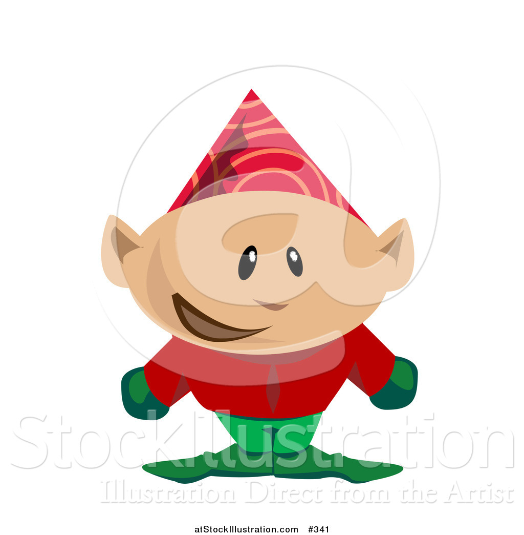 1024x1044 Vector Illustration Of A Christmas Elf In A Party Hat By