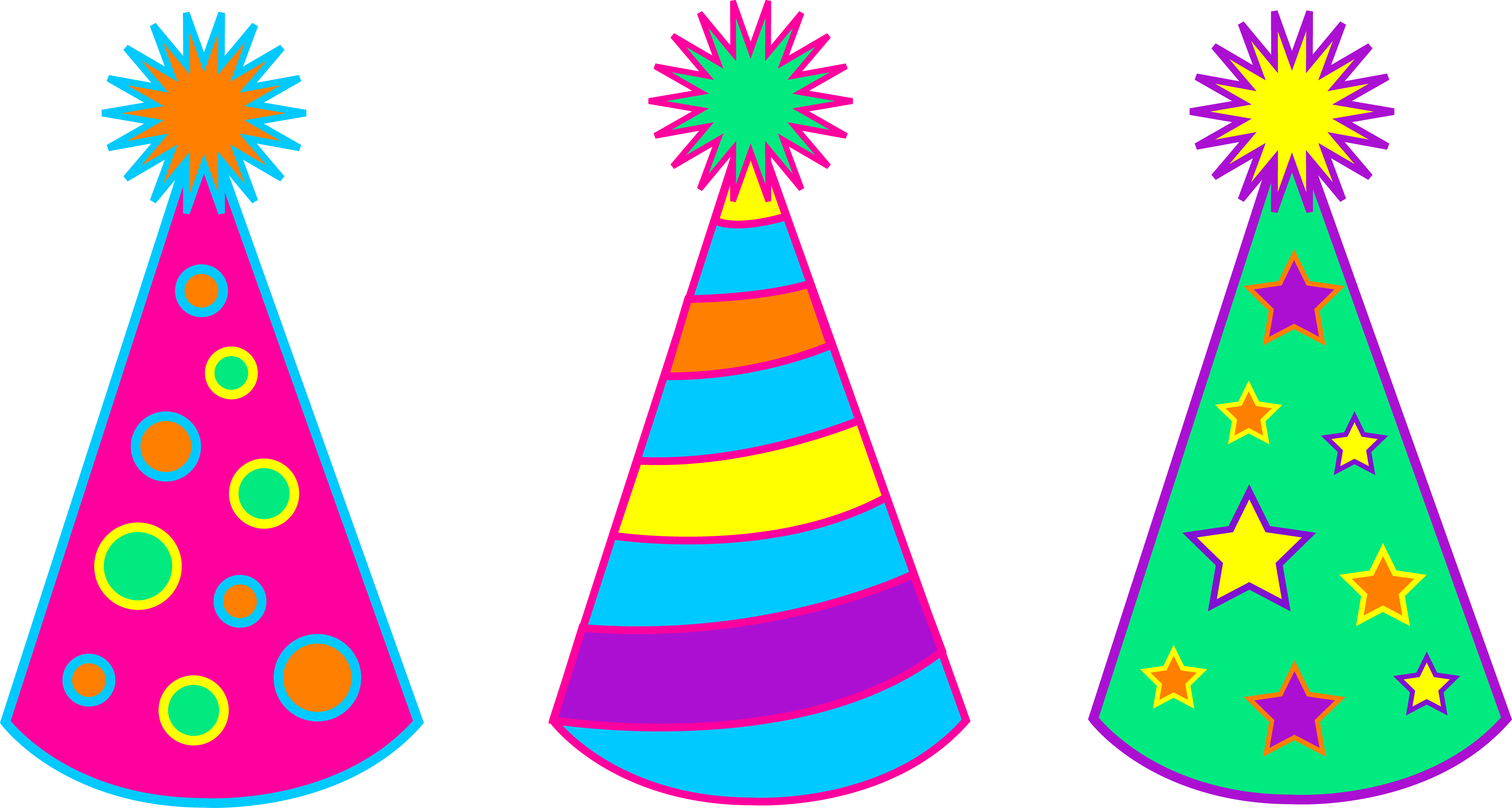 6547x3502 Birthday Clipart Party Hat