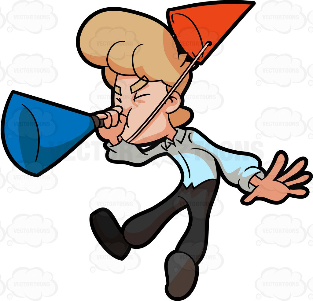 1024x985 A Man Blowing A Big Party Horn In Excitement Cartoon Clipart