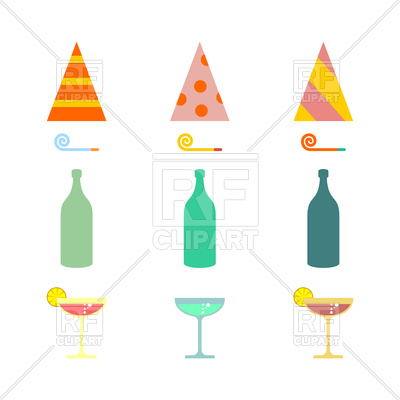 400x400 Party Set. Celebratory Cap And Party Horn, Alcohol Cocktail