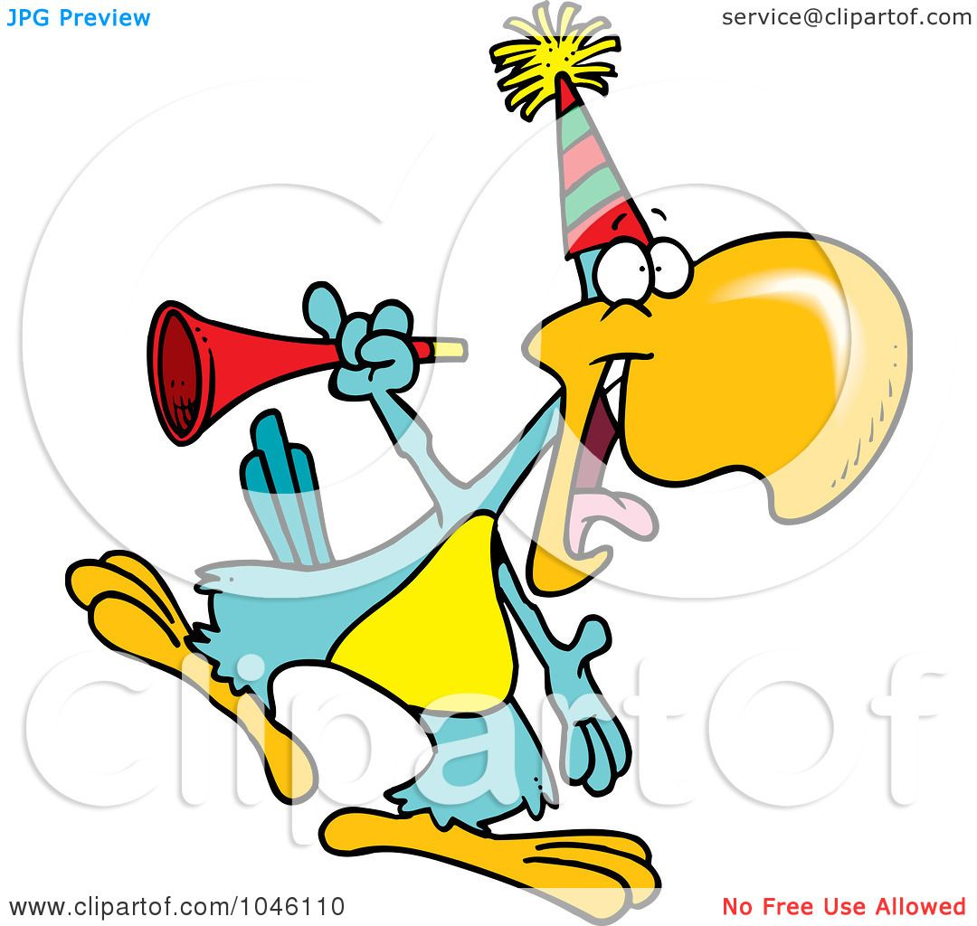 1080x1024 Royalty Free (Rf) Clip Art Illustration Of A Cartoon Party Parrot