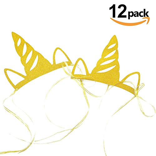500x500 Unicorn Party Horn Hats,12 Pcs Glitter Gold Unicorn Headband Theme