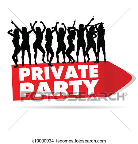 450x470 Clipart Of Sign For Private Party With Girl Silhouette K10030934