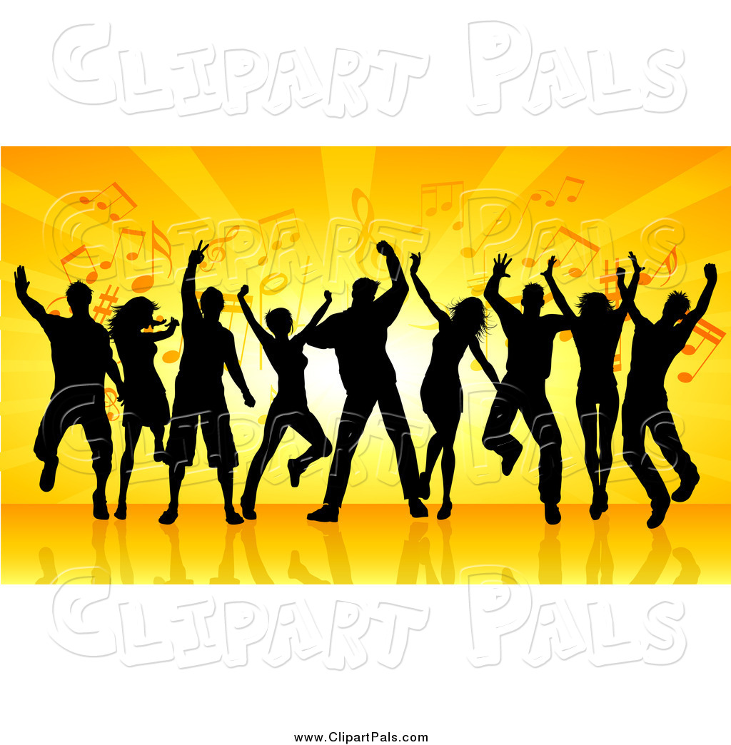 1024x1044 Pal Clipart Of A Group Of Black Silhouetted Dancers Against Orange