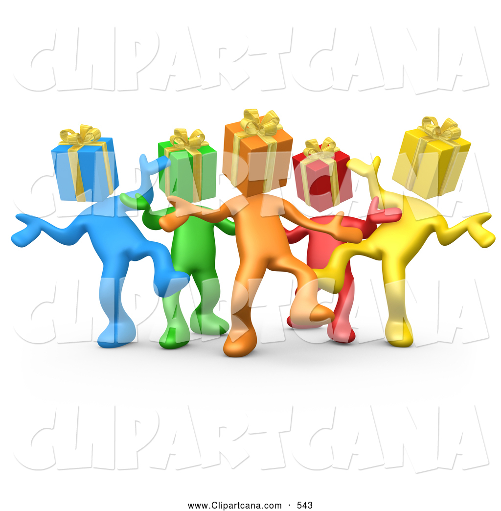 1024x1044 Clip Art Of A Group Of Diverse And Colorful People With Present