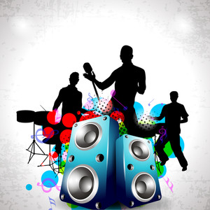 300x300 Party Night Background With Dancing People Silhouette And Speakers