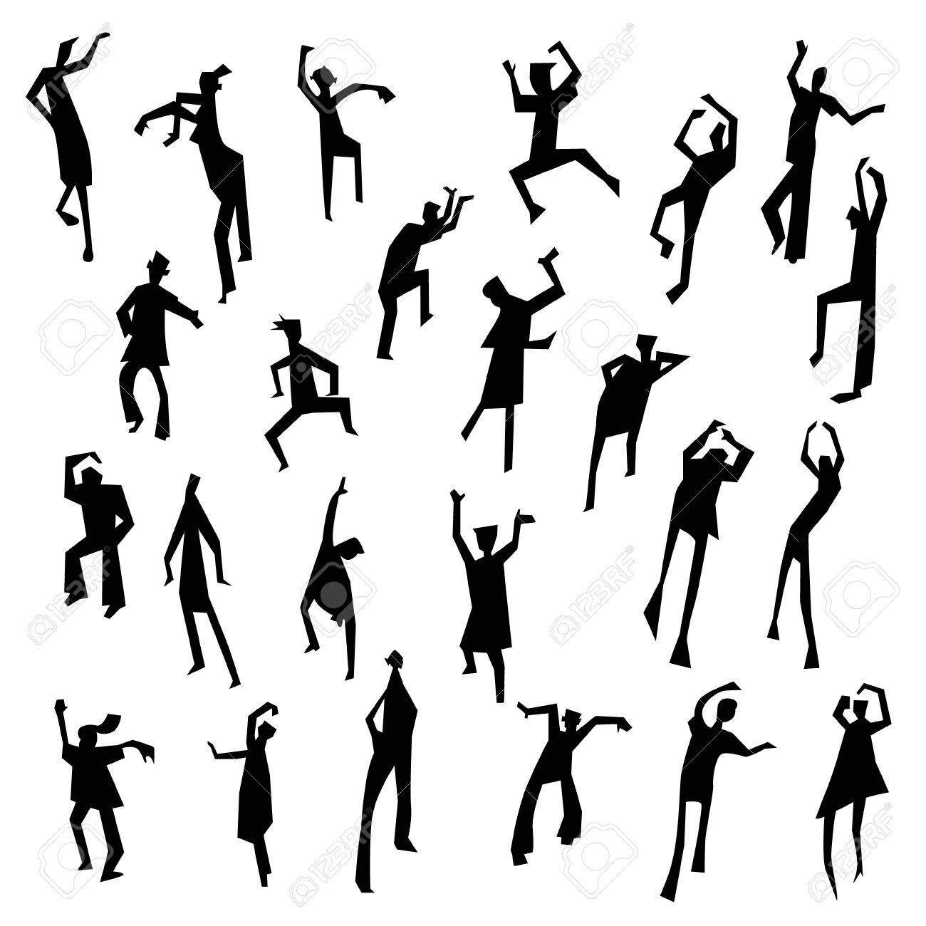 1300x1300 People Figures In Motion. Dancing People Set. Cute Black